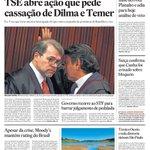 CAPA DO DIA: TSE autoriza ação que pode cassar chapa eleitoral de Dilma e Temer. Leia aqui: http://t.co/kDJbvtJ0pt http://t.co/cS1jf0ScJ0