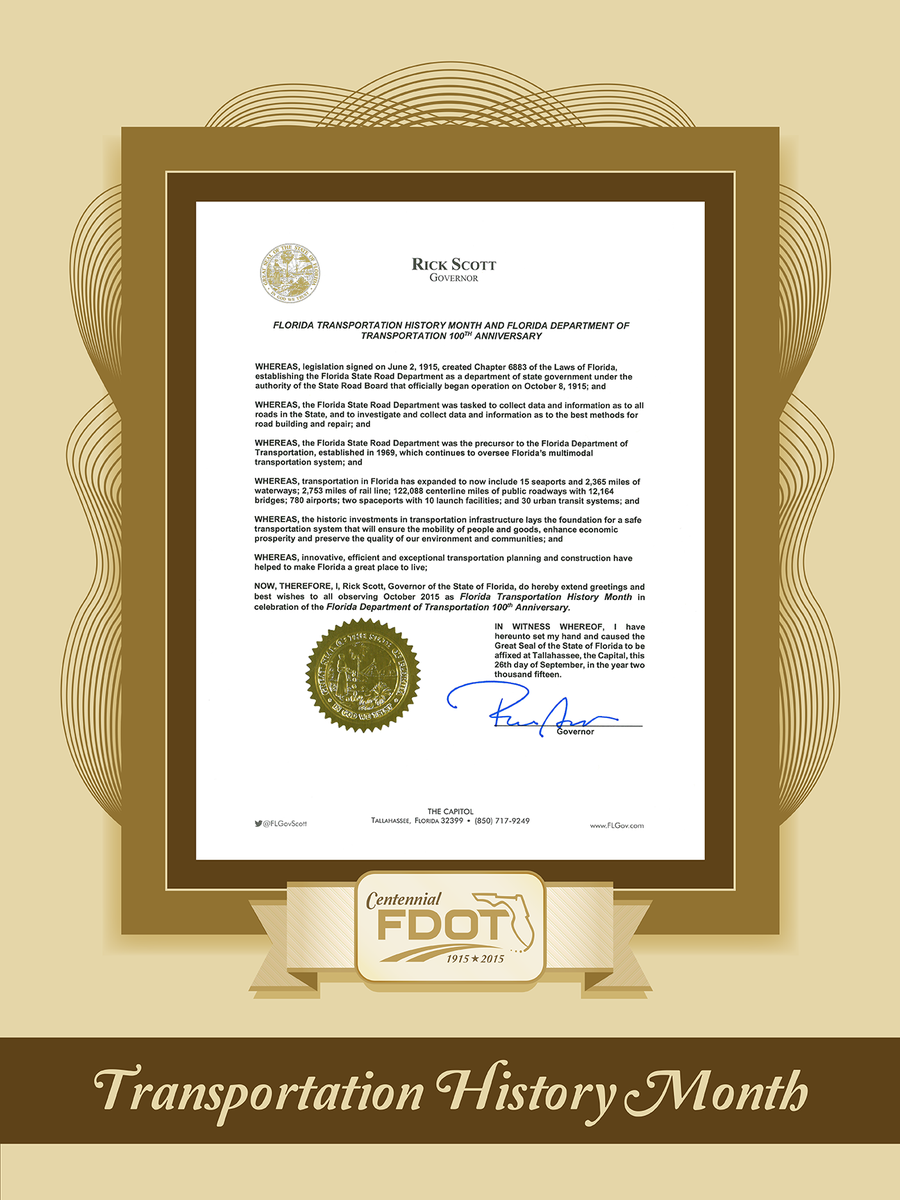 .@FLGovScott proclaims October as Florida Transportation History Month in honor of FDOT Centennial #FDOT100 http://t.co/FJFnE5Rk0x