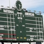 Just before game time, the Wrigley scoreboard honors Ernie. #Cubs #WeAreGood #MLBPostseason http://t.co/3d00ilrw9c