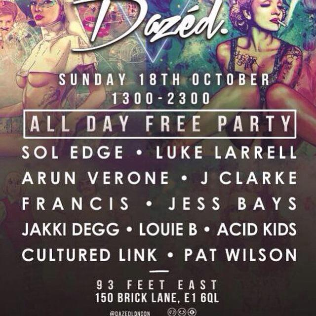 Today is all about @DazedLondon 93 Feet East Brick Lane 1pm-11pm @sol_edge @LukeLarrell @JClarkeDJ @FembomDazed