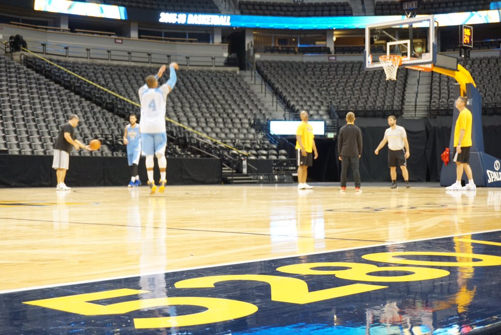 We Re Practicing On The Main Court Today Nuggets Https T Co Qlehd2p0d6 Basketball Denver