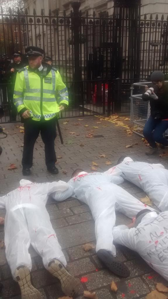 Protesters blocking Sisi 's route into Downing Street #Egypt https://t.co/Mqo4tFkFDd