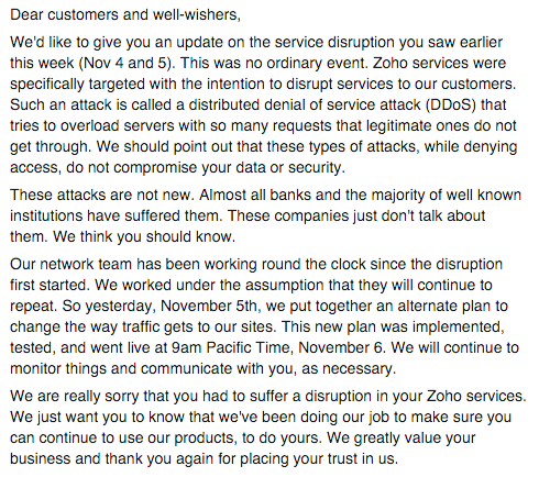 A detailed note about the service disruption this week. We're working on bringing you further updates as we tweet. https://t.co/SS72ryJn5V
