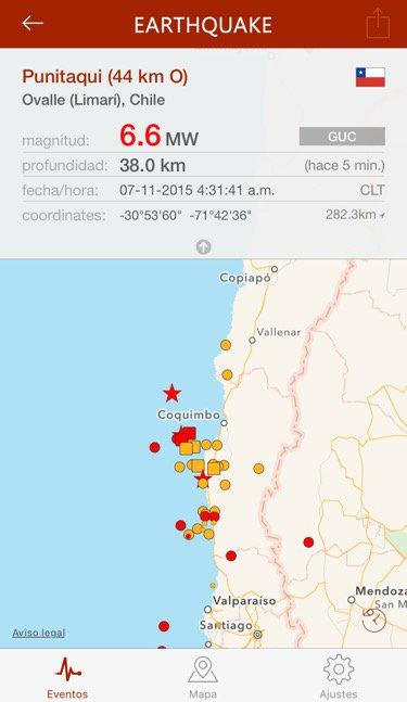 hace 5 min.  6.6 en Ovalle (Limarí), Chile, 38.0km, 4:31 a.m. CLT (GUC) https://t.co/KXyJVGgOu0 https://t.co/Sz1HgzeMCh