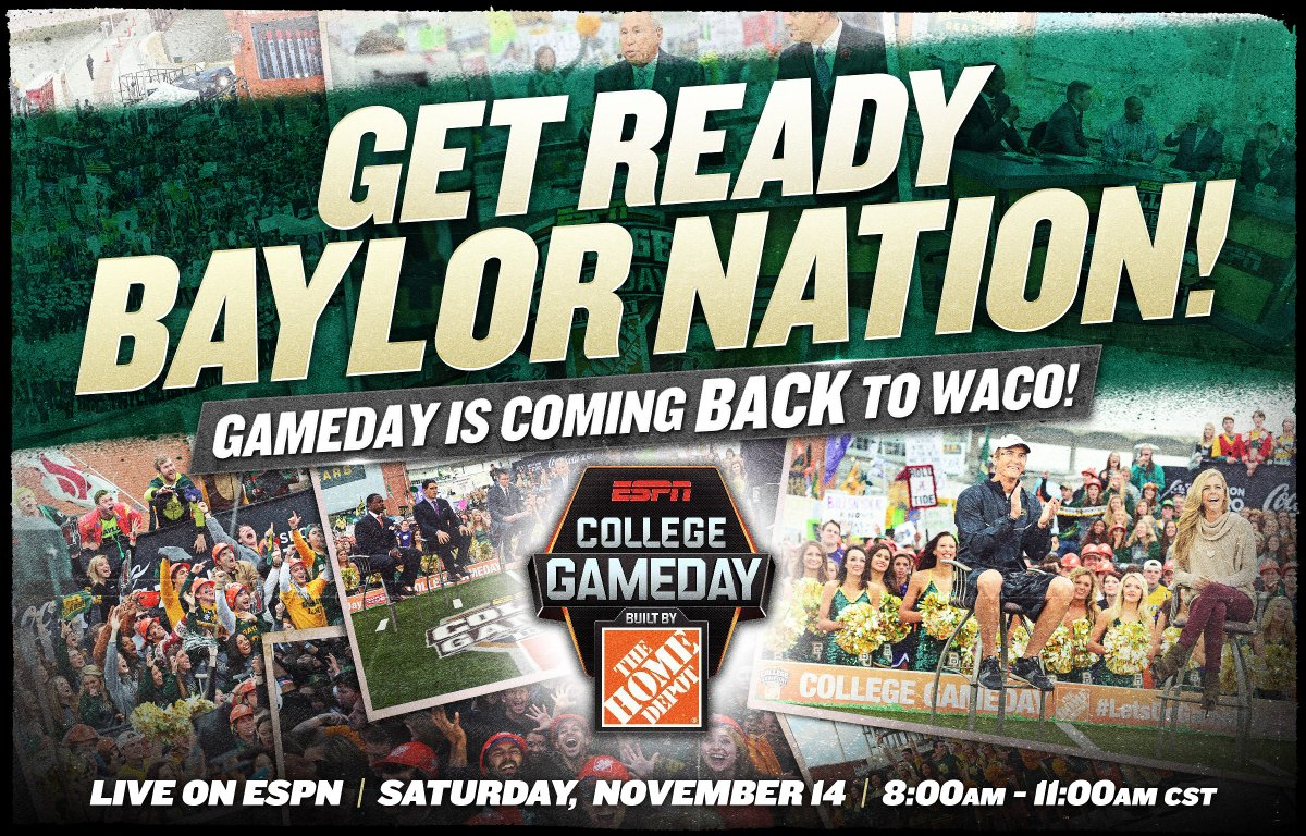 OFFICIAL: @CollegeGameDay will be live from Waco on Saturday, Nov. 14.  #GetUp4GameDay #SicOU https://t.co/byqXRDb7On