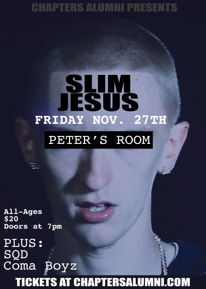 SHOW ALERT: you asked & we listened! @ChaptersAlumni brings to #Portland @TheSlimJesus 11/17. Tix on sale tomorrow! https://t.co/bVd65j8XEe