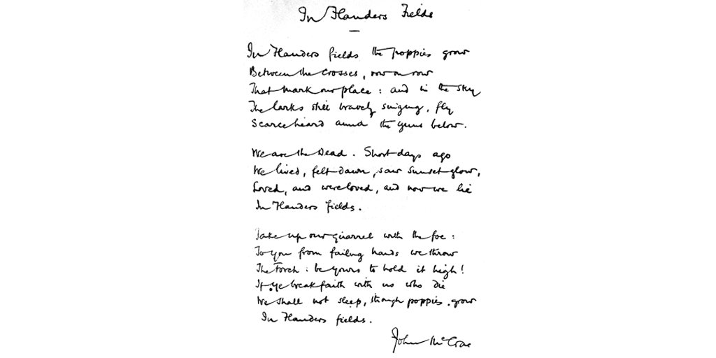 Top student in his #UofTMed class, Dr. John McCrae wrote 'In Flanders Fields' exactly a century ago. #RemembranceDay https://t.co/KsD0ukArQW
