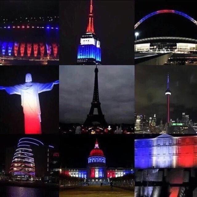La Francia ha spento le sue luci. Il resto del mondo le ha accese. #ParisAttacks https://t.co/7id9wzx0S3