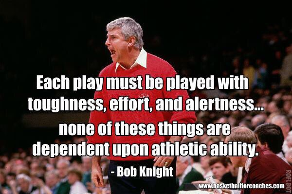 """We must have the ability to Concentrate from one Play to the next...just Playing Hard is not enough."" -Bob Knight https://t.co/tmI7ErlY6l"