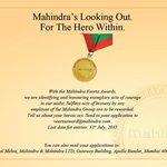 RT @vrindapisharody: .@anandmahindra This award will remain special forever @tech_mahindra #MahindraVeerta Saluting the heroes within https…