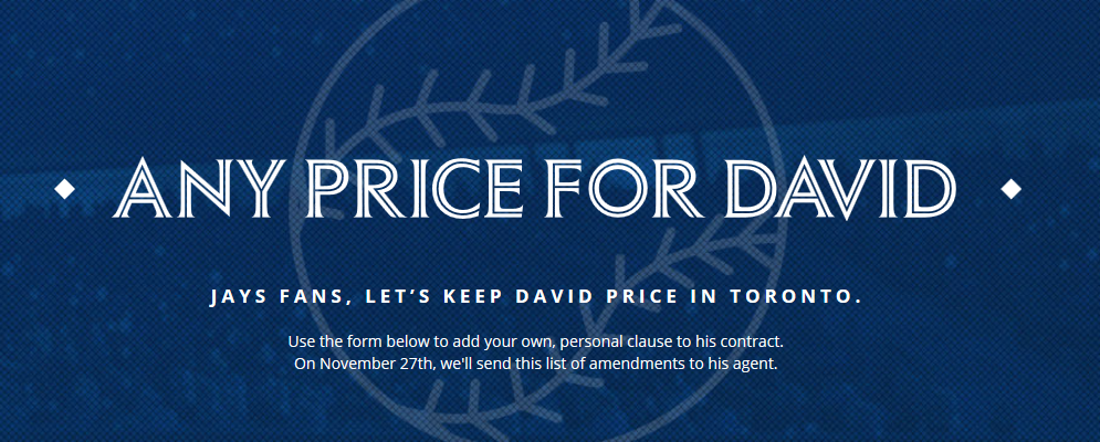 What would you do for @DavidPrice14?  https://t.co/0MNBFivRta #AnyPriceForDavid #Toronto #BlueJays https://t.co/giwh1ilVWL