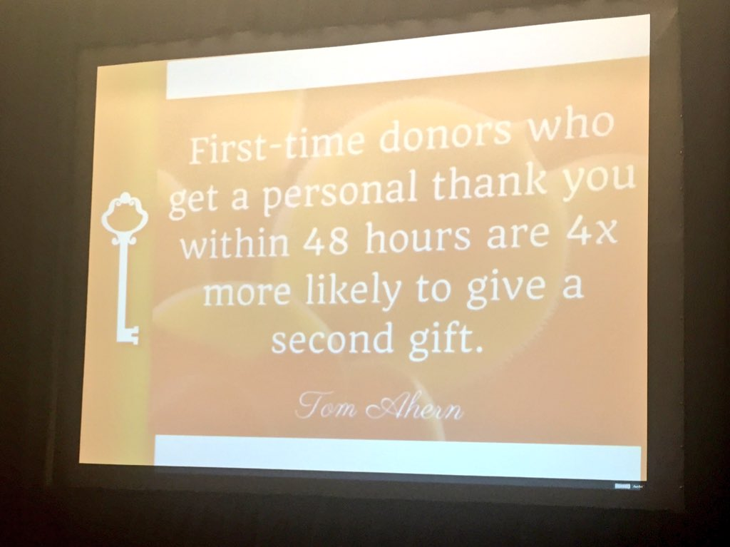 1st time donors who get a personal TY within 48 hours are 4x more likely to give. @donorguru #AFPCongress #retention https://t.co/vAytuuudBr