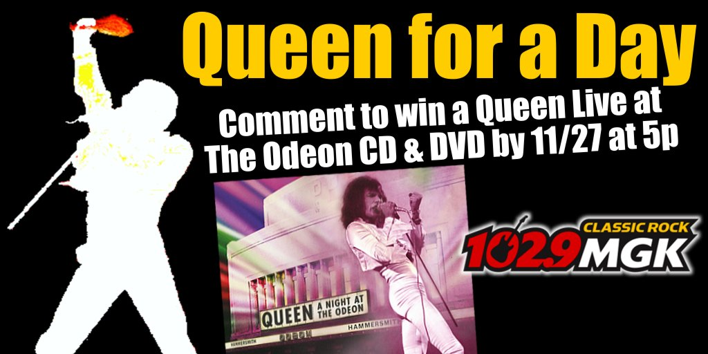 Be Queen for a day! RT to win a @QueenWillRock 'Live At The Odeon' CD & DVD. We'll randomly select winners. https://t.co/ld66PF9mRz