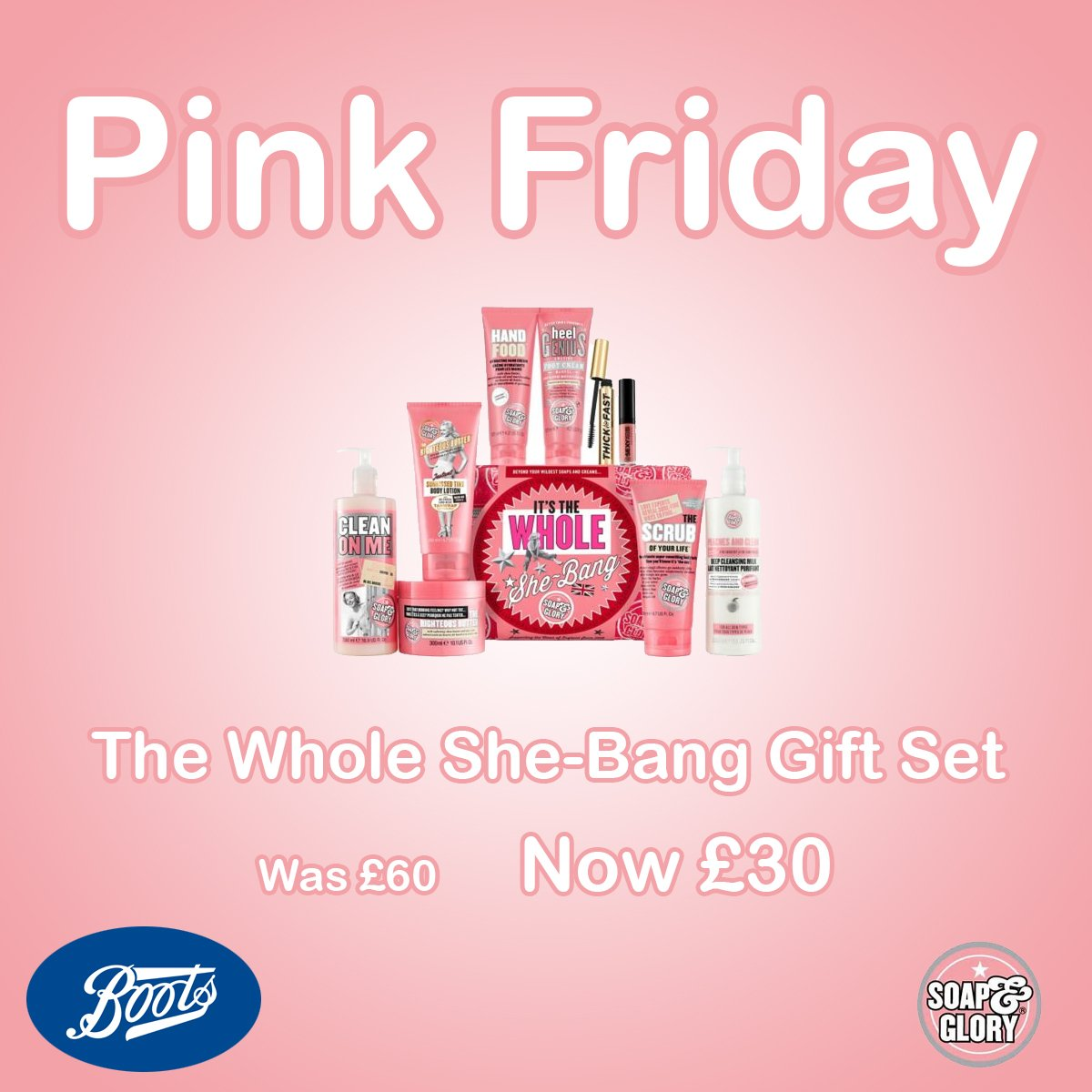At Boots today: Soap & Glory 'The Whole She-Bang' Gift Set. Was £60, now £30!  Limited stock
