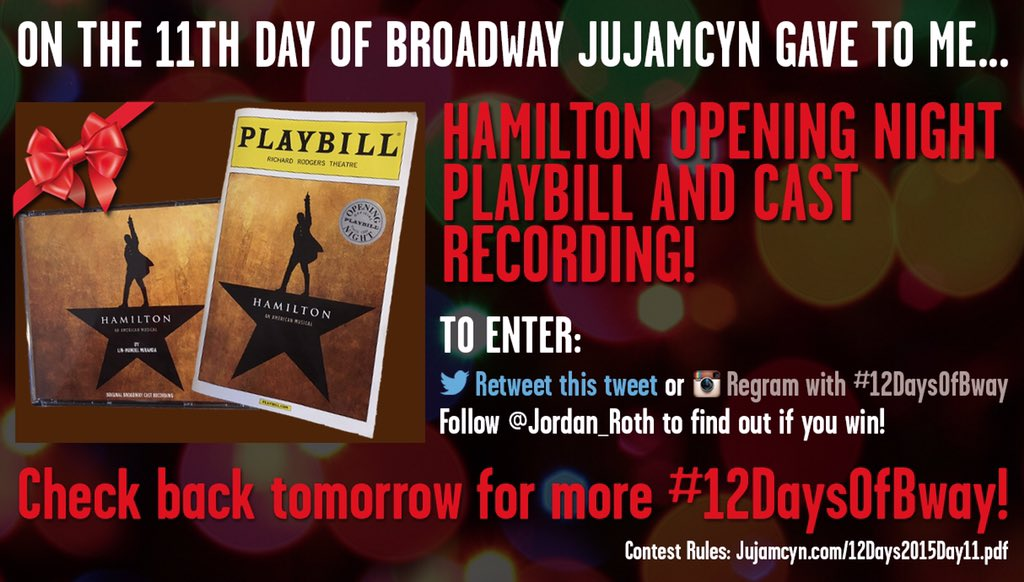 On the 11th day of #12DaysOfBway... Retweet to enter to win a Hamilton Opening Night Playbill & cast album! https://t.co/gZVZLI3PRW