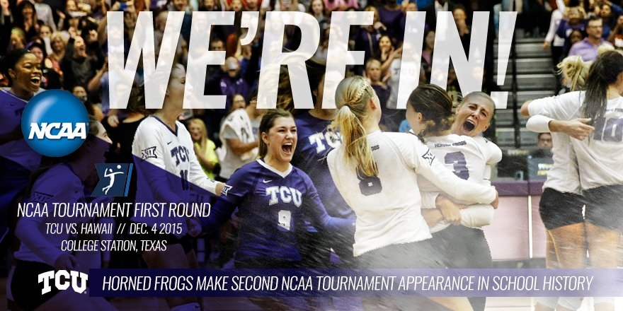 WE'RE IN! See you in College Station! #NCAAVB #TCUVB #GoFrogs #ANewEra https://t.co/ZdGvvj6FrZ