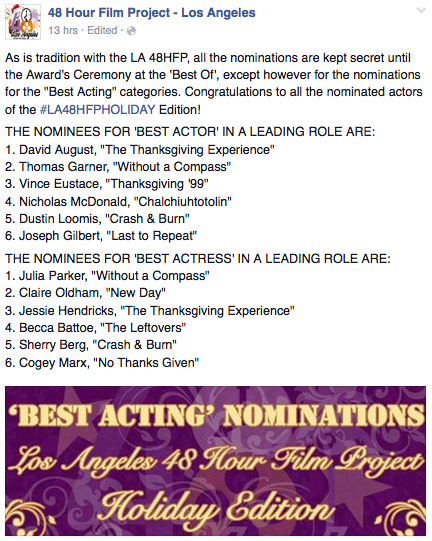 Thrilled to be nominated for Best #Acting w/such talented fellow nominees https://t.co/hjsSe4CuyX @LosAngeles48HFP https://t.co/qKUTgCvLtU