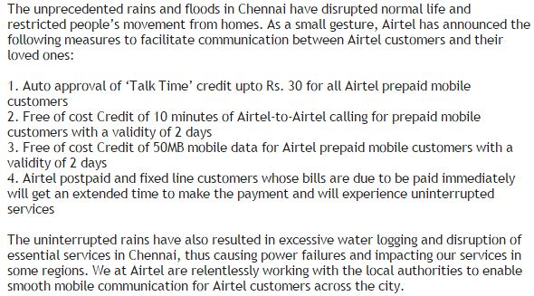 In the wake of #ChennaiFloods, #Airtel supports the people of Chennai. @Raheelk https://t.co/4cVzTxgItR