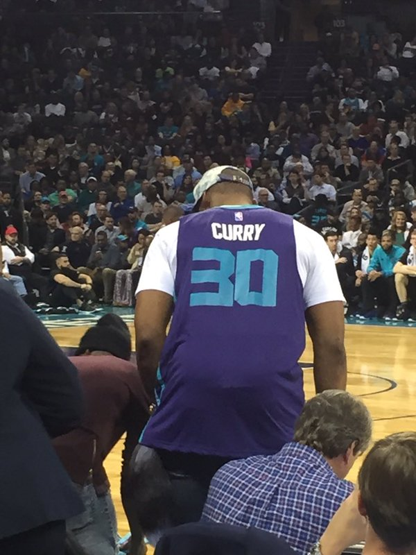 #CurryComeHome? RT @RealGM: Cam Newton courtside wearing a No. 30 Curry jersey (photo via @Seth_Cole33). https://t.co/21q7HZcd2X
