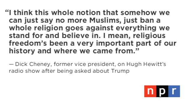 Dick Cheney on Trump proposal to ban Muslims from coming into U.S. https://t.co/MQHERKbk3G