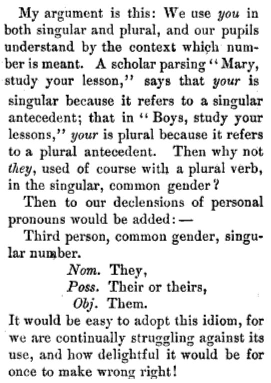 Why not singular they? asks Atlantic Monthly in 1879: https://t.co/NNGj4Y7CmQ