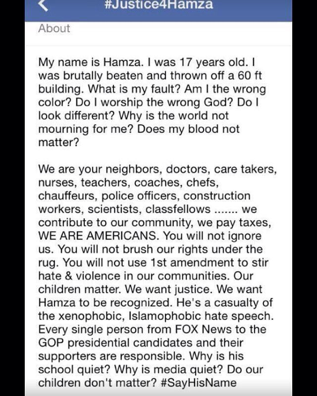 I join the growing chorus of people demanding #Justice4Hamza   Please RT! https://t.co/0hxR475YDv