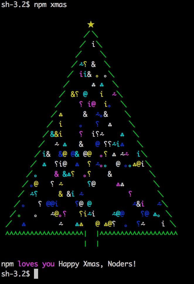 ターミナルでnpm xmasを実行するとクリスマスツリーが表示されるよ https://t.co/PFJSUxPSbP