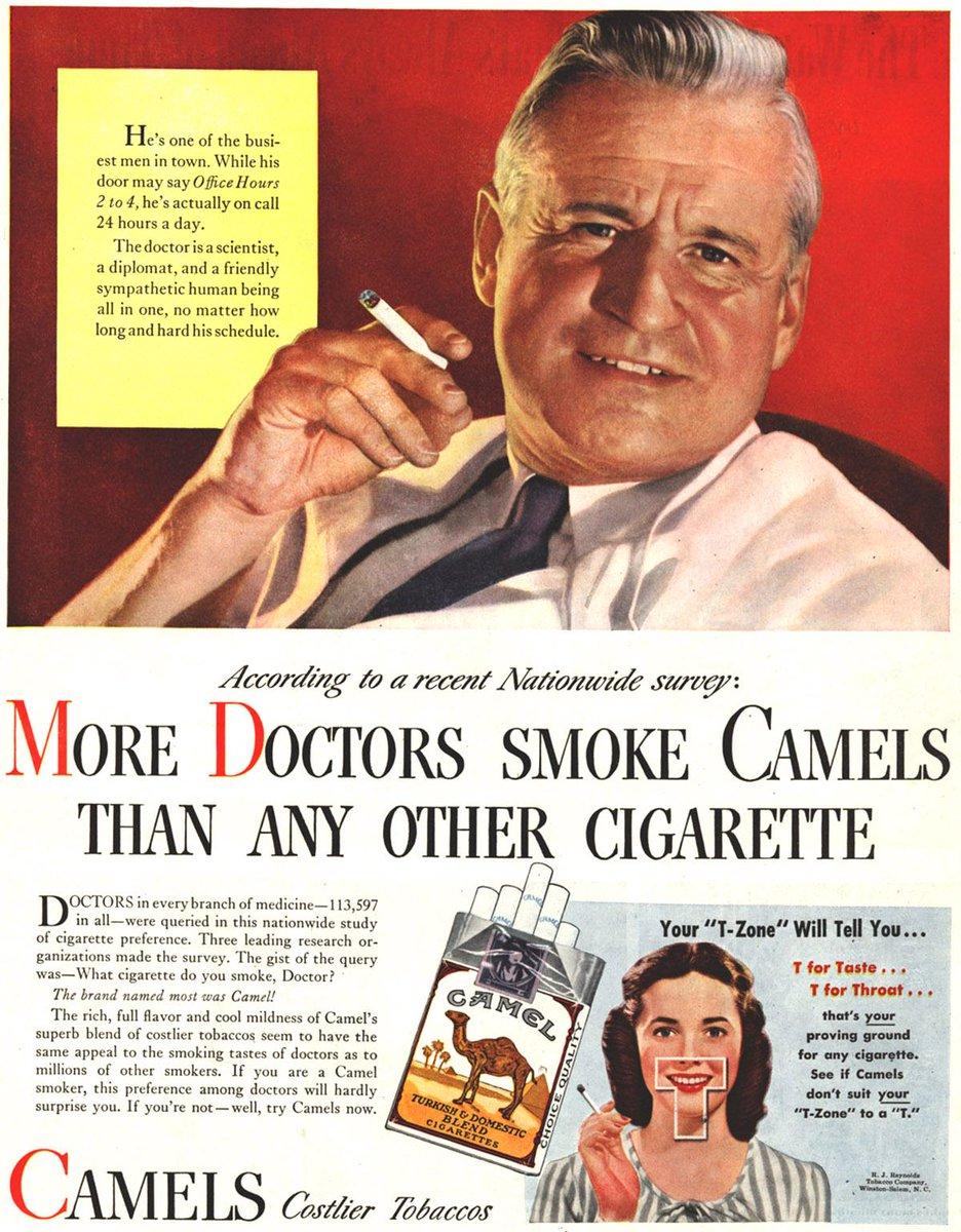 นี่คือโฆษณาเมื่อสัก 60 ปีก่อนมั่ง ก่อนที่จะมีคนรู้ว่าบุหรี่ทำให้เกิดมะเร็งปอดได้ https://t.co/729brk0inq