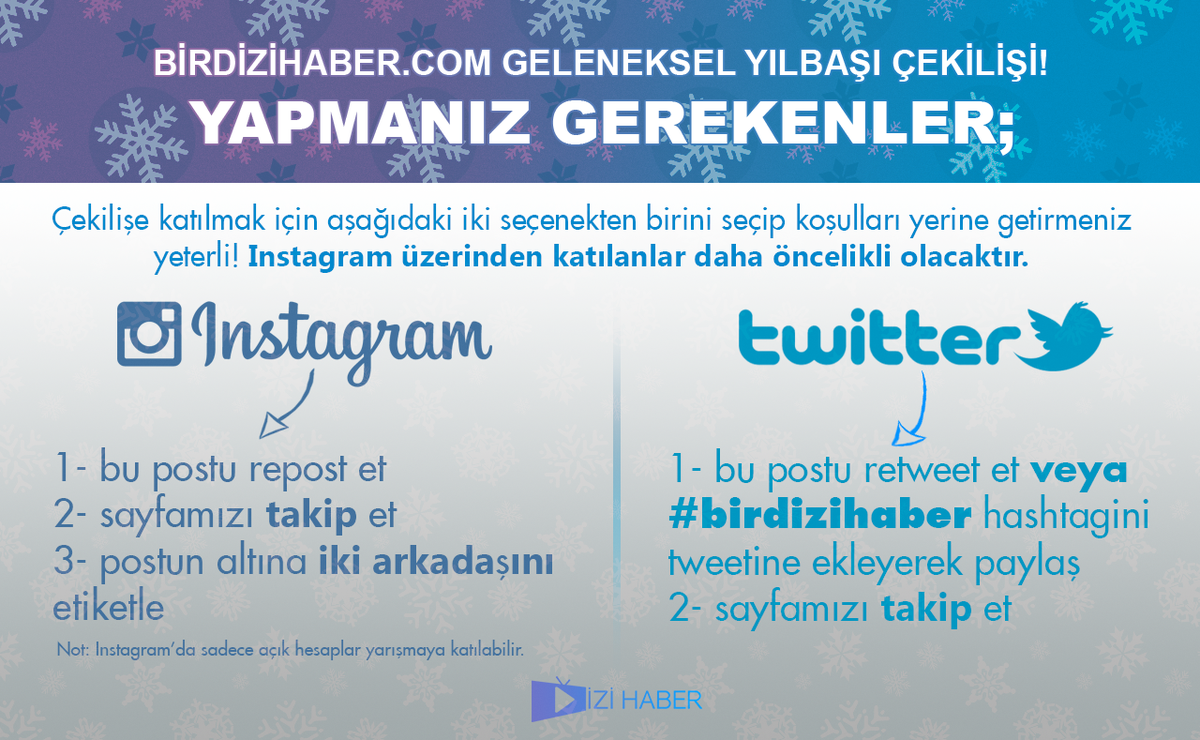 KOŞ KOŞ! #BirDiziHaber'in geleneksel yılbaşı çekilişi var! Çekiliş aynı zamanda instagramda da var ►IG: birdizihaber https://t.co/7PAsCzouiH