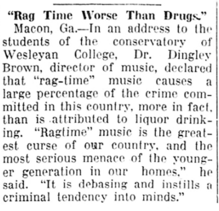 """…""""rag-time"""" music causes a large percentage of the crime committed in this country…    SC1910 https://t.co/xaduNxNI99"""
