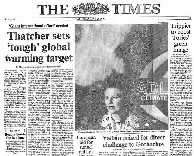 Digging thru archives and came across this striking Times frontpage on day first IPCC report was published in 1990 https://t.co/ppWL1BIMuy