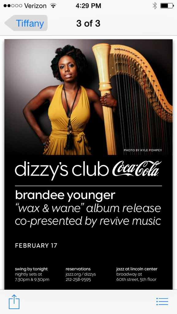 'wax & wane' album release show is Feb 17 @ Dizzy's Jazz club! #savethedate #harp https://t.co/dsJYT3IYyQ