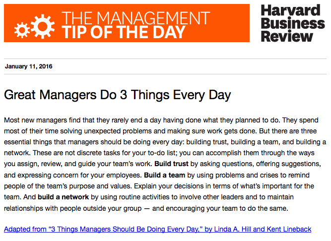 Today's management tip: Managers need to think about three things every day https://t.co/FYVCUWhYHR