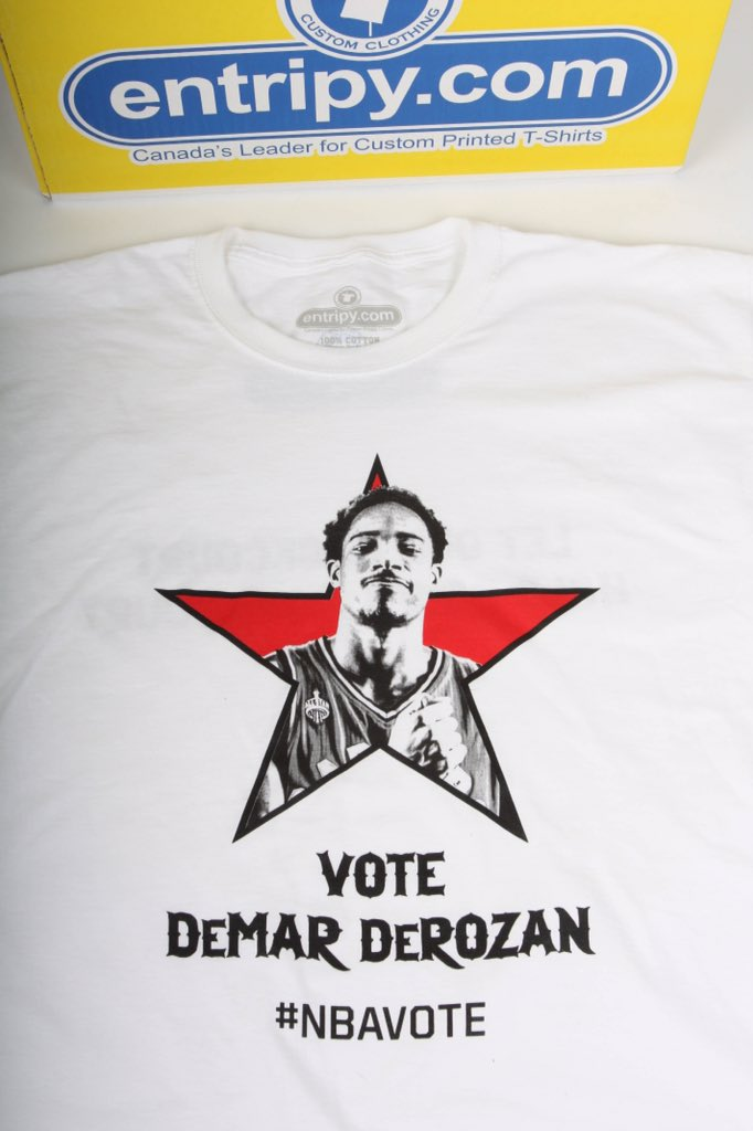 My only all star tweet...Cuz it supports partners/friends too - @Entripy. Get this T tonight. #NBAVote DeMar DeRozan https://t.co/JBrVHYWGk5