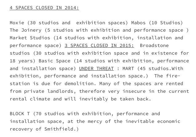 Extraordinary figures of artist studio closures since 2014. Esp for a tiny city like Dublin. https://t.co/ZKAEFGgTY8