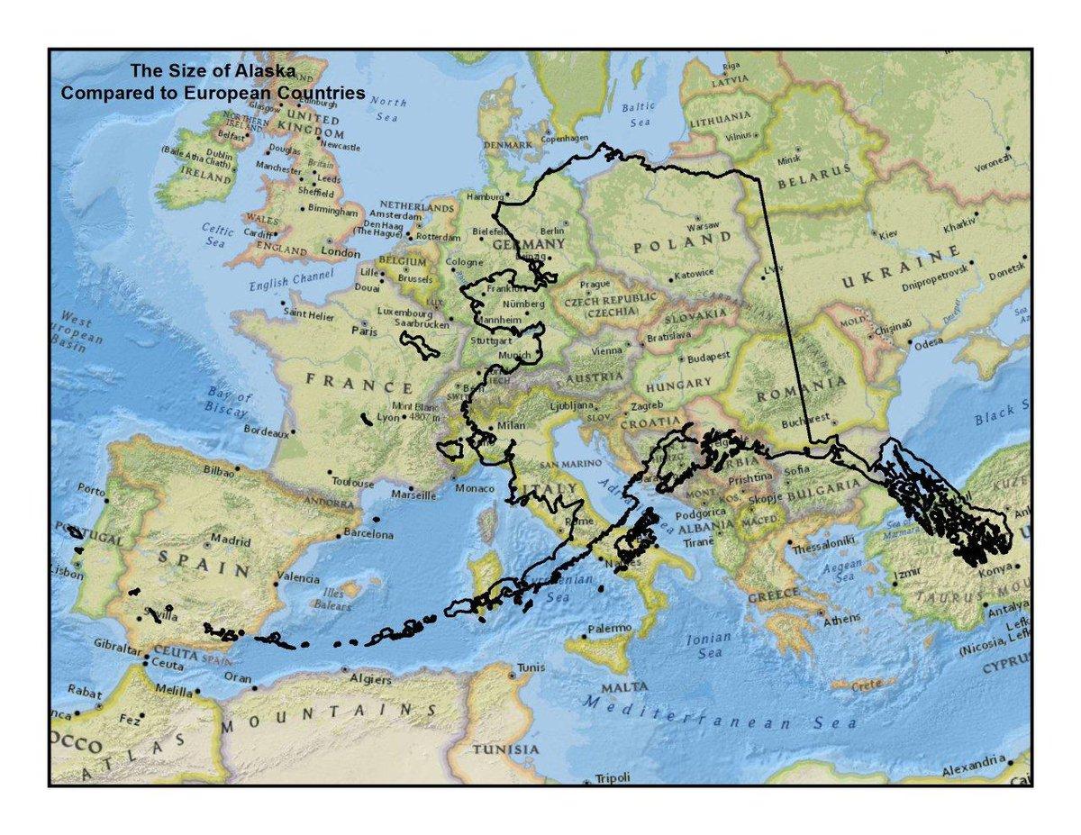 Alaska vs European countries size comparison. https://t.co/OwvhzKO0CZ