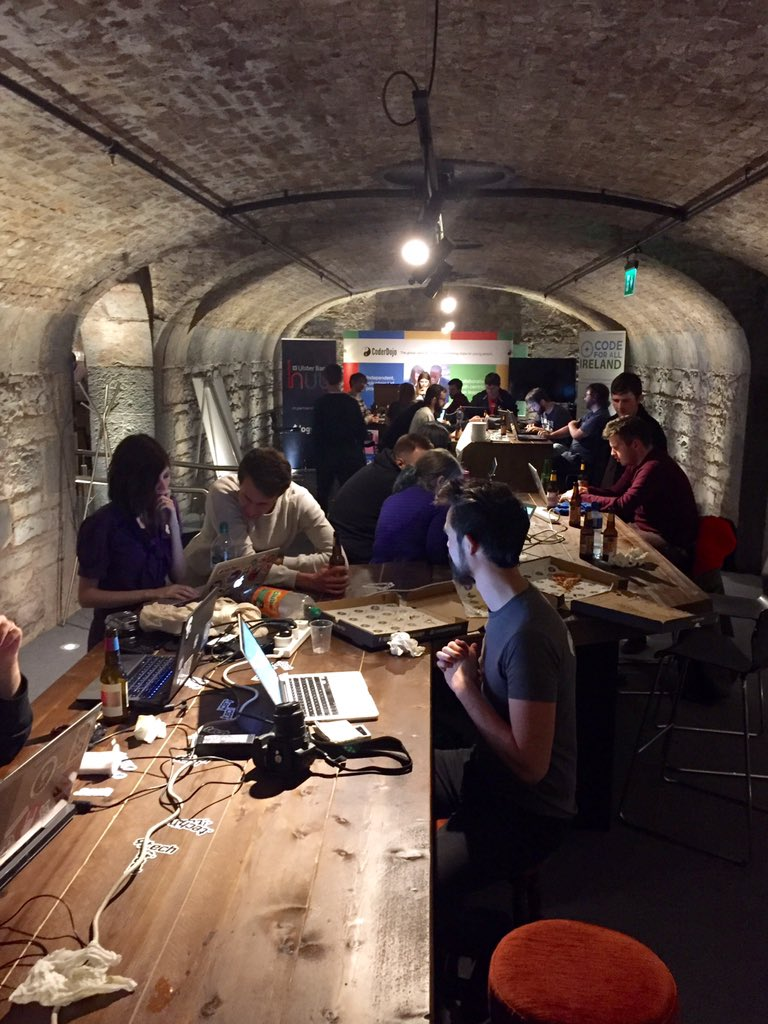 Nice hackathon buzz going on this Friday evening in The Vaults with @codeforall_ire @CoderDojo sponsored @UlsterBank https://t.co/1Lbwg99ffD