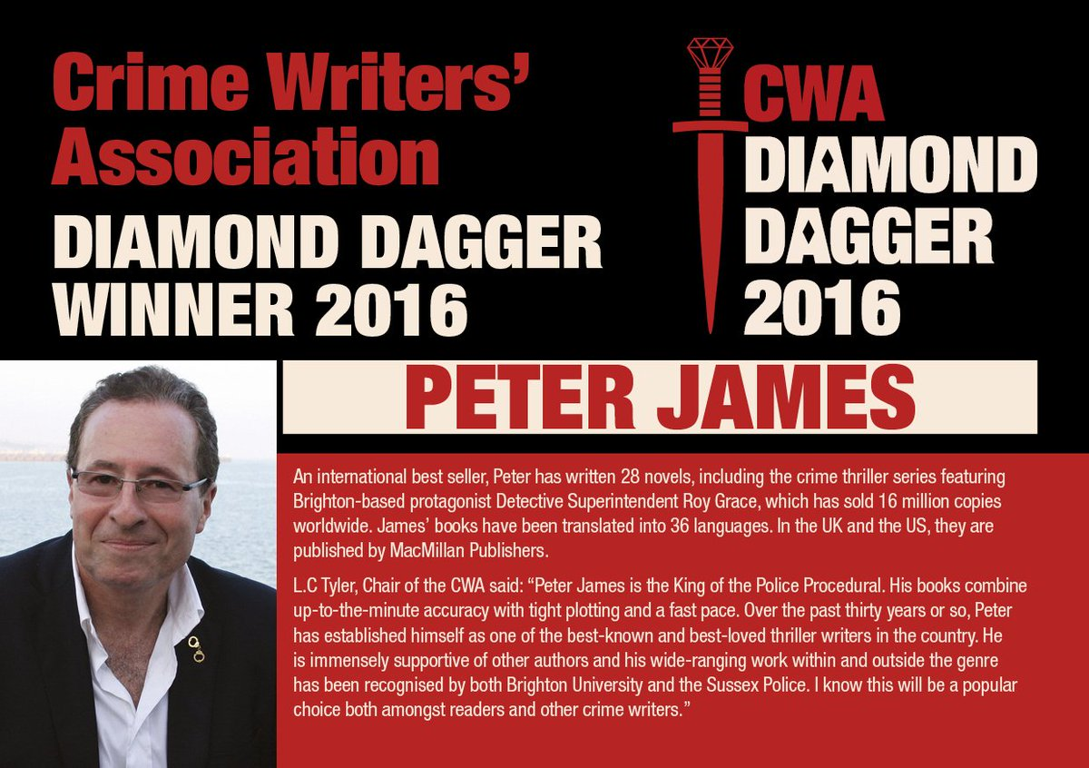 Peter James is the winner of the 2016 CWA Diamond Dagger. Read his interview with @JakeKerridge in @Telegraph https://t.co/6qH7aJUYRN