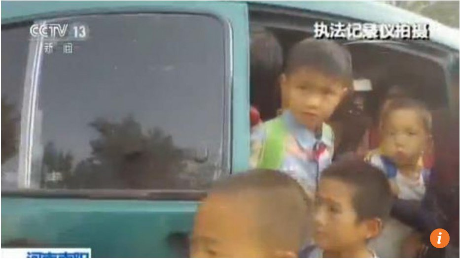 Chinese traffic cops shocked to find school MPV crammed with 36 kids