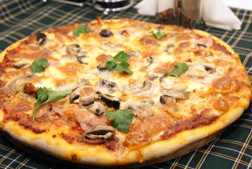 Домашняя пицца в духовке рецепт с курицей и грибами