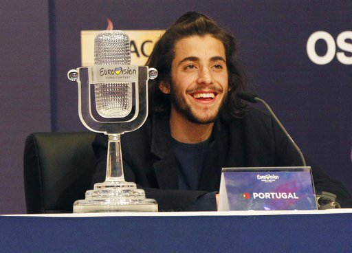 The Latest: Eurovision winner arrives home to Portugal