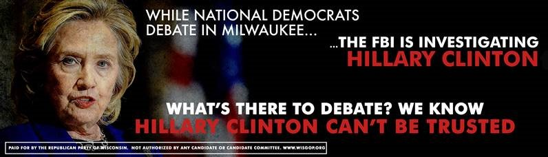 .@wisgop billboard: What's There To Debate? We Know Hillary Clinton Can't Be Trusted #LeadRight2016 #StopHillary https://t.co/panWwYH9Yj