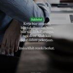 Biar tak dilihat sesiapa, kerjalah demi Allah. #nakbebel https://t.co/r9AEW2mRBQ