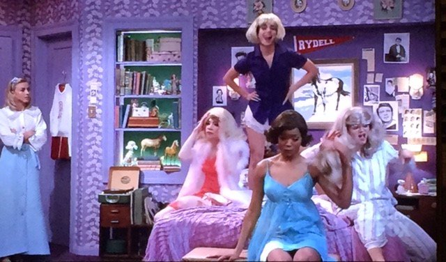 Loving the new take on the Pink Ladies sleepover. #GreaseLive @GoGrease #PinkLadies https://t.co/k8VYvNbdIj