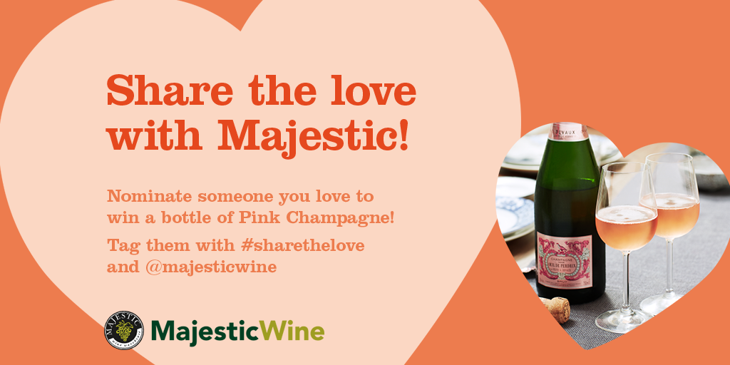Share Champagne with someone you love this #Valentines! Nominate them with #sharethelove @majesticwine and RT! https://t.co/eNVyDpJHIx
