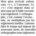 Lavis très sage de Jean dOrmesson sur la réforme orthographique : le temps peut changer une langue, pas une loi. https://t.co/g4M09Z9tQH