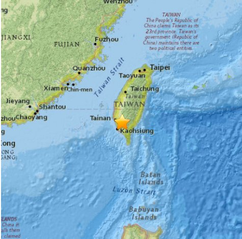 Magnitude 6.7 #earthquake strikes 16mi (25km) S of Yujing, Taiwan, the USGS said. NO Tsunami threat. https://t.co/0rKBUXZI1T