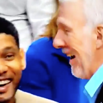 VIDEO: Mavs player talks trash down 20; Pop and Timmy laugh at him. https://t.co/fDctuQStOR https://t.co/CjT0s9bdU5