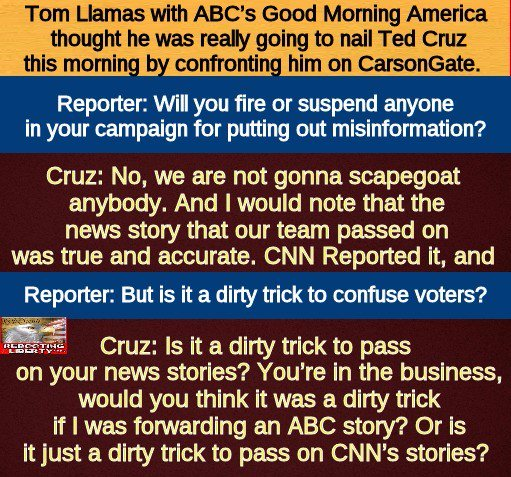 MT @LibertyUSA1776: #TedCruz dropped a bomb on ABC reporter over Carson story! #RebootLiberty https://t.co/LnBofNEiI0 #CruzCrew #PJNET none