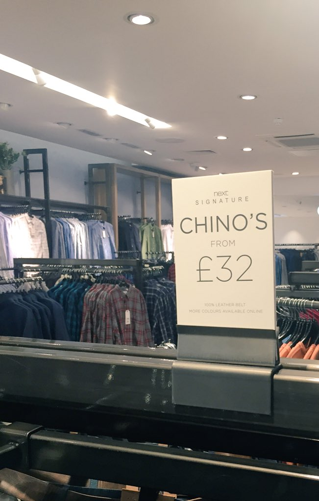 Oh @nextofficial, unless these chinos all belong to someone called Chino this sign is very wrong.  I'm disappointed. https://t.co/ye3yPufZXQ